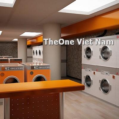 bài trí thiết bị giặt trong cửa hàng giặt là