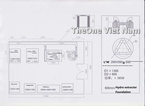 Bản vẽ bố trí hệ thống thiết bị giặt là trong cửa hàng nhỏ