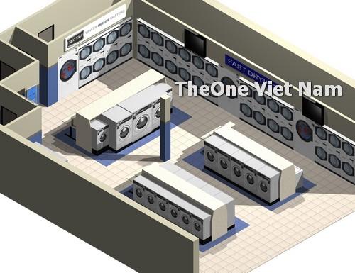 Mô hình bản vẽ bố trí máy giặt cho xưởng giặt nhỏ